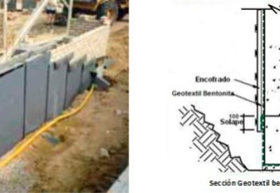 Geotextil de bentonita para impermeabilizar superficies subterráneas horizontales y verticales